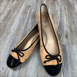 Vaneli Sarette Cork Flats Black Patent Leather Toe